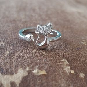 Silver & Rhinestone Cat Ring